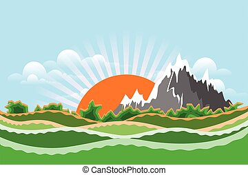 illustration, stockage, paysage montagne