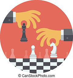 illustration, stratégie, plat, concept