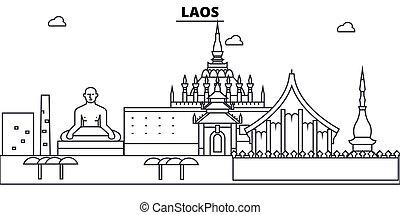 illustration., strokes., editable, diseño, silueta, landmarks., laos, urbano, línea, edificios, vector, contorno, plano, paisaje, concepto, contorno, arquitectura