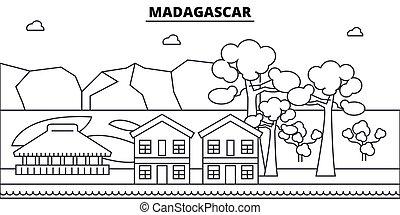 illustration., strokes., editable, diseño, silueta, landmarks., urbano, línea, edificios, madagascar, vector, contorno, plano, paisaje, concepto, contorno, arquitectura