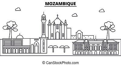 illustration., strokes., editable, diseño, silueta, landmarks., urbano, línea, edificios, mozambique, vector, contorno, plano, paisaje, concepto, contorno, arquitectura