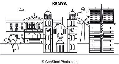 illustration., strokes., editable, diseño, silueta, landmarks., urbano, línea, edificios, vector, contorno, kenia, plano, paisaje, concepto, contorno, arquitectura