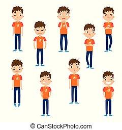 illustration, style., bleu, facial, garçon, pantalon, vecteur, dessin animé, emotions., différent, mignon, cheveux brun, plat, ensemble
