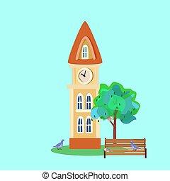 illustration, style, fée-conte, fantasme, maison, vecteur, caractères, dessins animés