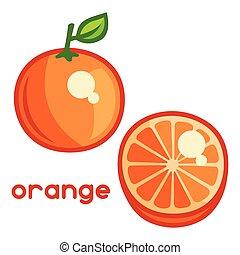 illustration, stylisé, fond, orange, frais, blanc
