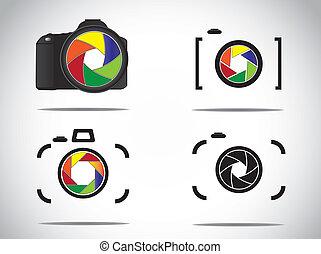 Illustration stylish camera icons - Concept Illustration of...