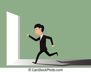 illustration., succes, concept., rennende , vector, zakenman, gate.