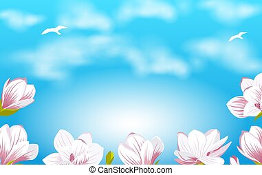 Summer Background with Beautiful Magnolia Flowers