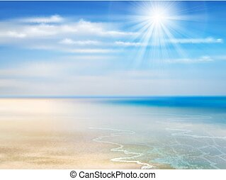Summer background with ocean, coastline, blue sky, sunshine...
