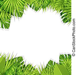 Summer Fresh Background with Tropical Leaves
