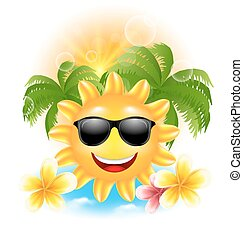 Summer Funny Background with Happy Smiling Sun, Palms, Flowers Frangipani