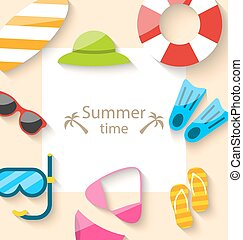 Summer Traveling Card with Beach Accessories