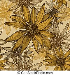 illustration., sunflower bezaait, behang, seamless, bloemen, vector, hand-drawing.