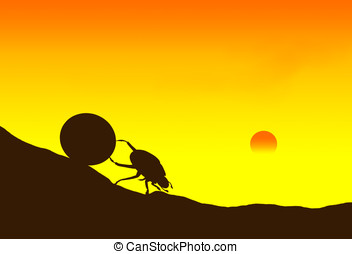 dung beetle - illustration, sunset and the silhouette of...