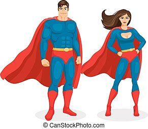 Illustration superman and superwoman isolated on white background. Vector Superhero Couple