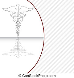 illustration., symbol, vektor, medizin, caduceus