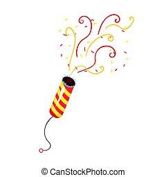 illustration, symbole, anniversaire, serpantin, vecteur, popper, exploser, fête, dessin animé, célébration