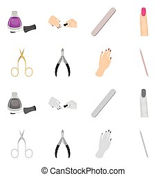 illustration, symbole., illustration., manucure, produits de beauté, vecteur, collection, maquillage, stockage
