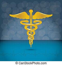 illustration., symbole, vecteur, monde médical, caducée