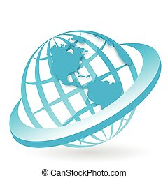 globe - Illustration, symbolic blue globe in blue ring
