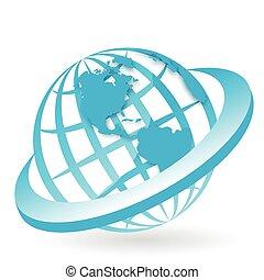 Illustration, symbolic blue globe in blue ring