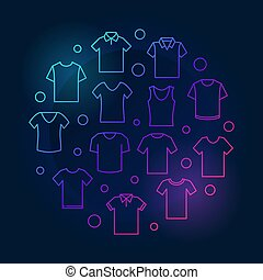 illustration., symbool, t-shirt, tshirt, vector, ronde, gekleurde