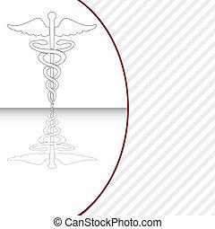 illustration., symbool, vector, medisch, caduceus