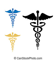 illustration., symbool, vector, medisch, caduceus