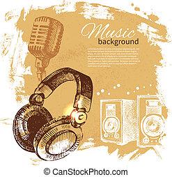 illustration., szüret, fejhallgató, kéz, háttér., loccsanás, tervezés, folt, húzott, zene, retro