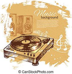 illustration., szüret, kéz, háttér., lemezjátszó, loccsanás, tervezés, folt, húzott, zene, retro
