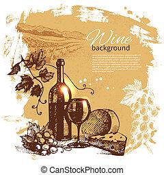 illustration., szüret, kéz, háttér., loccsanás, tervezés, retro, húzott, bor, folt
