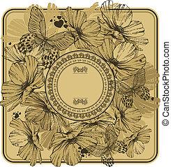 illustration., szüret, keret, vektor, butterflies., vad virág
