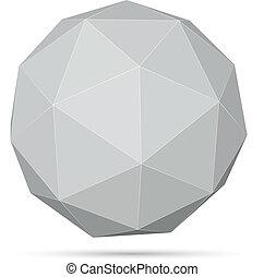 illustration., szary, polygonal, kula, wektor, 3d