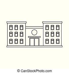 illustration., szpital, obiekt, symbol., zbiór, odizolowany, klinika, wektor, ambulans, pień