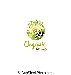 illustration., táj, alakít, vektor, logotype, nap, vidéki, kerek, tehén, gazdálkodás, elszigetelt, szerves, kaszáló, jel, elvont, zöld