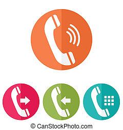 illustration., téléphone, icônes, arrière-plan., vecteur, blanc