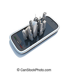 illustration., téléphone, mobile, cartes, navigation, intelligent, 3d