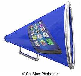 illustration, téléphone portable, bullhorn, nouvelles, nouveau, porte voix, intelligent, 3d