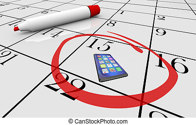 illustration, téléphone portable, date limite, date, nouveau, calendrier, jour, intelligent, 3d