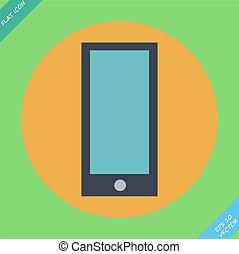 illustration., -, téléphone, vecteur, intelligent, icône