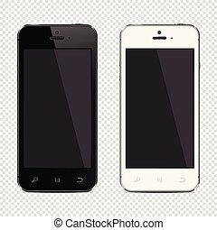 illustration., téléphones mobiles, isolé, réaliste, vecteur, transparent, fond