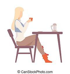 illustration., table., femme, café, boire, vecteur