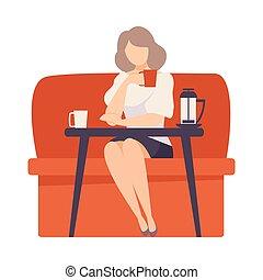 illustration., table rouge, assied, femme, cafe., sofa, vecteur