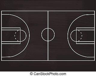 illustration, tableau noir, tribunal, basket-ball