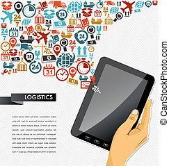 illustration., tabuleta, ícones, app, despacho, mão, human, composição