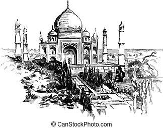 Illustration Taj Mahal, watercolor