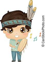illustration, tambour, garçon, powwow, gosse, indien, main
