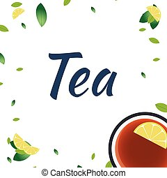 illustration., tasse, thé, lemon., time., vecteur