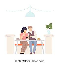 illustration., tavola, uomo, cafe., donna, vettore