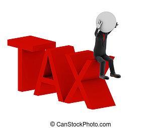 illustration, tax., humain, character., 3d